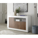Fiorano II 138cm sideboard in white gloss and walnut