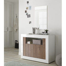 Fiorano 110cm sideboard in white gloss and walnut