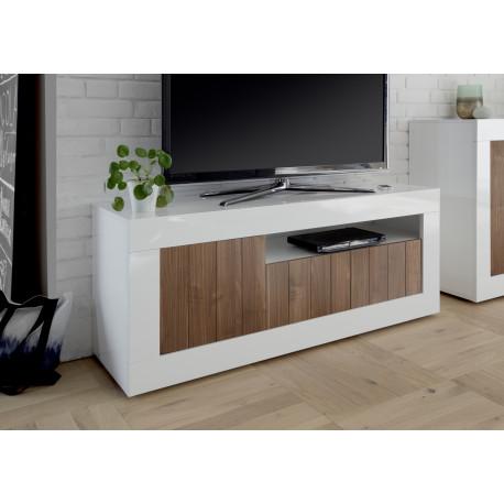 Fiorano 138cm TV unit in white gloss and walnut