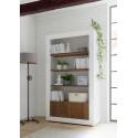 Fiorano bookshelf in white gloss and walnut