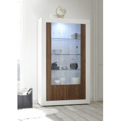 Fiorano display cabinet in white gloss and walnut