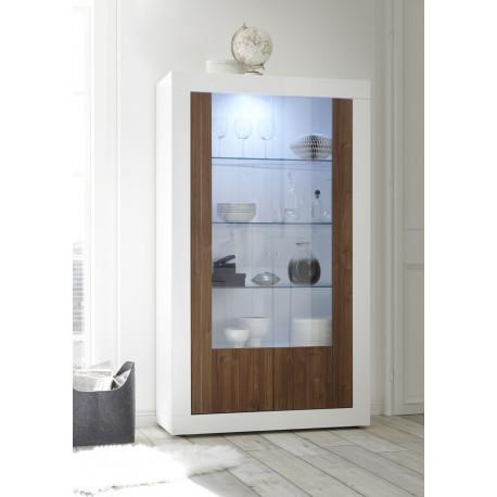 Fiorano display cabinet in white gloss and walnut