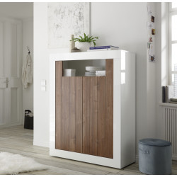 Fiorano 110cm highboard in white gloss and walnut
