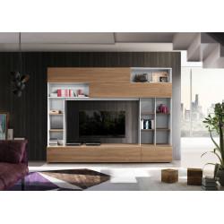 Prato I modern TV wall set in white and walnut finish