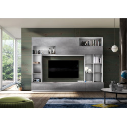 Prato II modern TV wall set in white and concrete finish