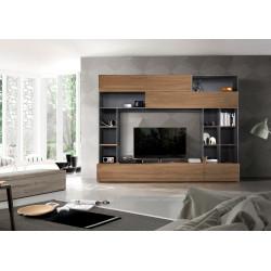Prato III modern TV wall set in oxide and walnut finish