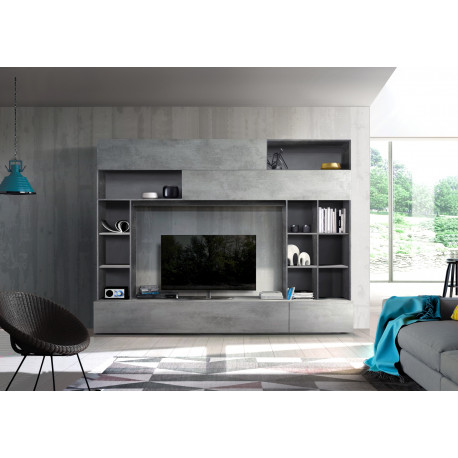 Prato IV modern TV wall set in oxide and walnut finish