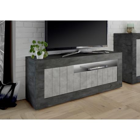 Fiorano 138cm TV unit in oxide and concrete finish