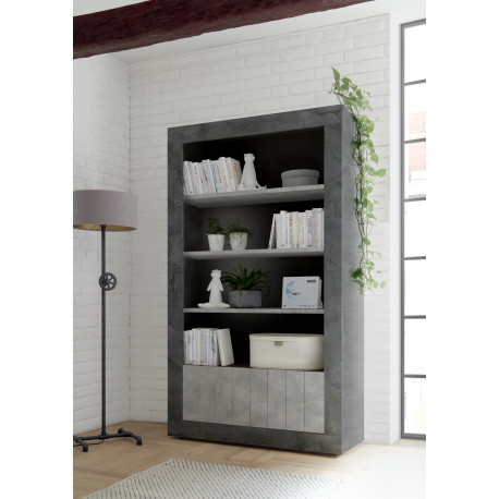 Fiorano bookshelf in oxide and concrete finish
