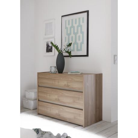 Amalti II walnut 3 drawers dresser