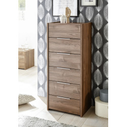 Amalti II walnut 6 drawers chest