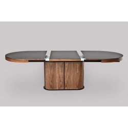 Breeze oval - glass topped extendable dining table