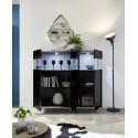 Glamour black gloss highboard with LED lights