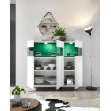 Glamour white gloss highboard with LED lights