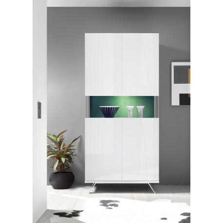 Glamour white gloss display cabinet with LED lights
