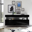 Glamour II black gloss sideboard with LED lights