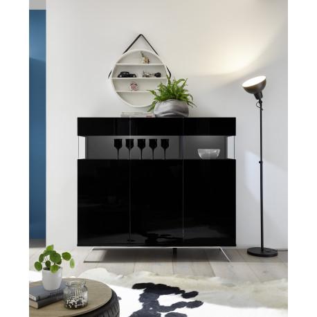 Glamour II black gloss highboard with LED lights
