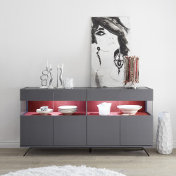 Glamour carbon finish sideboard with LED lights