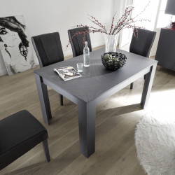 Glamour decorative carbon finish extendable dining table