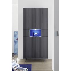 Monza grey display cabinet with pinstripe stencil