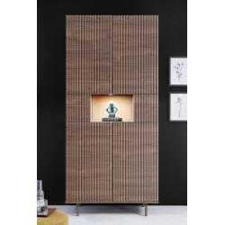 Monza dark walnut display cabinet with pinstripe stencil