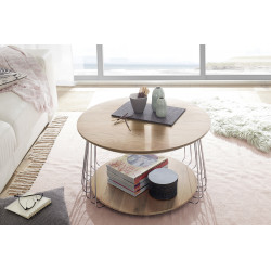 Vilnus oak and chrome coffee table