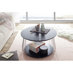 Vilnus black matt and chrome coffee table