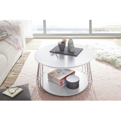 Vilnus white matt and chrome coffee table