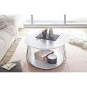 Vilnus white matt and chrome coffee table