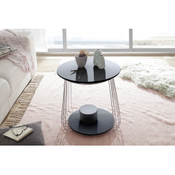 Vilnus II black matt and chrome coffee table