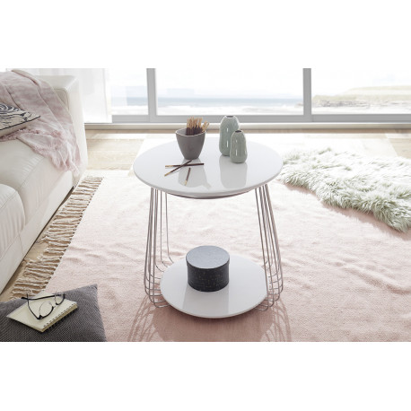 Vilnus II white matt and chrome coffee table