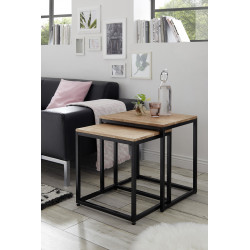 Sakura set of two side tables with natural oak