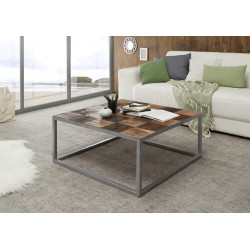 Binto square coffee table with raw acacia wood