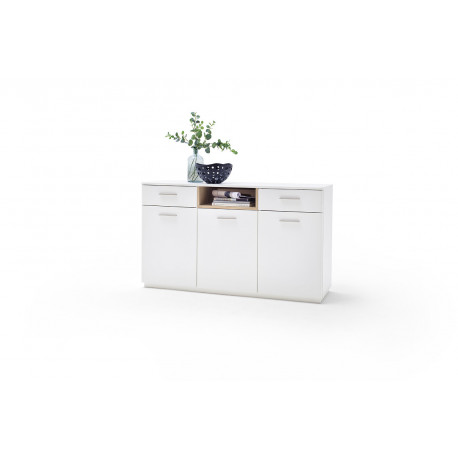 Celia 150cm sideboard in white and oak finish