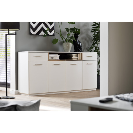 Celia 180cm assembled sideboard in white and oak finish