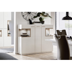 Celia 150cm assembled highboard in white and oak finish