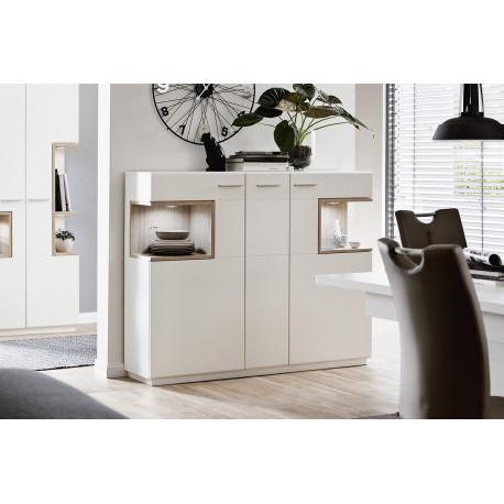 Celia 150cm assembled highboard in white and oak finish