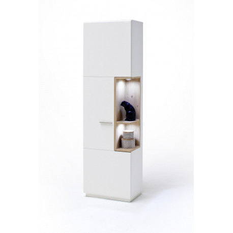 Celia assembled display cabinet in white and oak finish