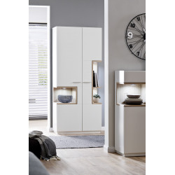 Celia assembled wide display cabinet in white and oak finish