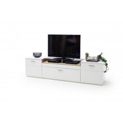 Celia 240cm assembled TV unit in white and oak finish