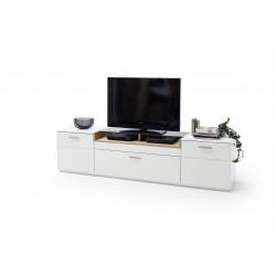 Celia 240cm assembled TV unit in white and oak finish