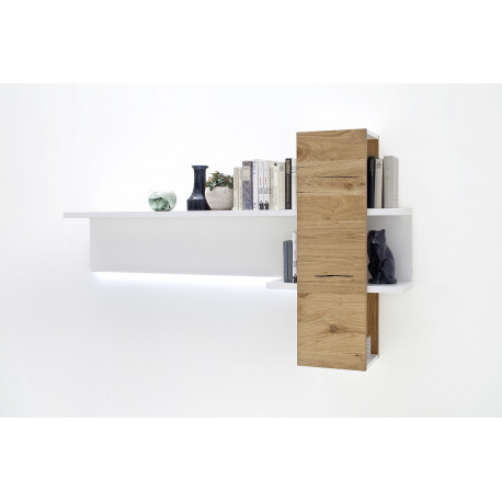 Celia display wall panel in white and oak finish