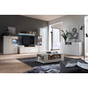 Celia 150cm assembled TV unit in white and oak finish