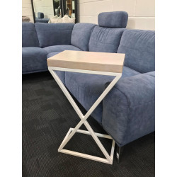 Loft white oak sofa side table