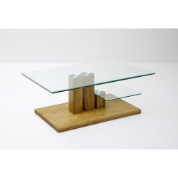 Paco glass top coffee table with natural oak base