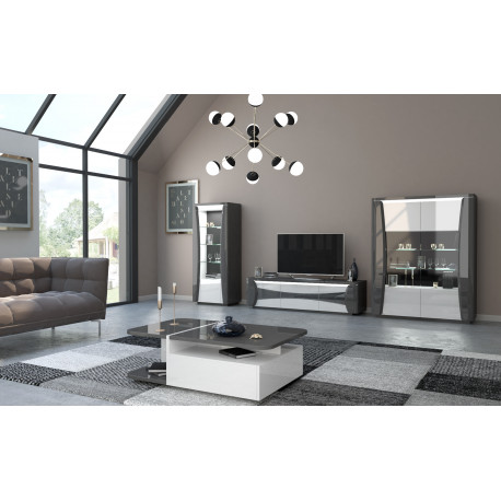 Capella 180cm Grey And White Gloss Tv Unit With Led Lights