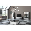 Capella 130cm grey and white gloss display unit with led`s