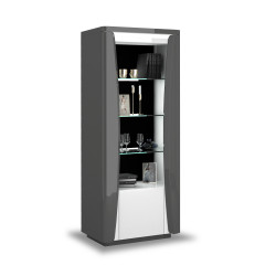 Capella 70cm grey and white gloss display unit with led`s