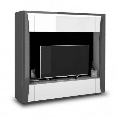 Capella 180cm grey and white gloss wall unit