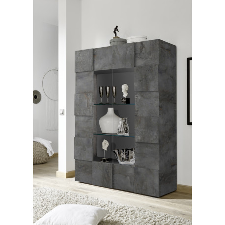 Diana two door display cabinet in oxide finish with LED lights